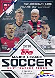 2018 Topps MLS Major League Soccer EXCLUSIVE Factory Sealed Retail Box with AUTHENTIC MLS AUTOGRAPH Card & 8 Packs! Look for Cards, Parallels, Relics & Autographs of all the Biggest MLS Stars! WOWZZER