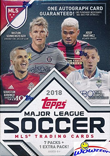 Mls Soccer Trading Cards - 2018 Topps MLS Major League Soccer EXCLUSIVE Factory Sealed Retail Box with AUTHENTIC MLS AUTOGRAPH Card & 8 Packs! Look for Cards, Parallels, Relics & Autographs of all the Biggest MLS Stars! WOWZZER
