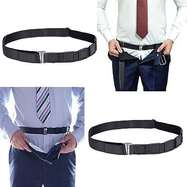 Paquete de 2 soportes para camisa estilo cinturón, mantiene la camisa pegada, ropa interior profesional formal para hombres policía militar (1, 2 pulgadas, talla única, negro): Amazon.es: Ropa y accesorios