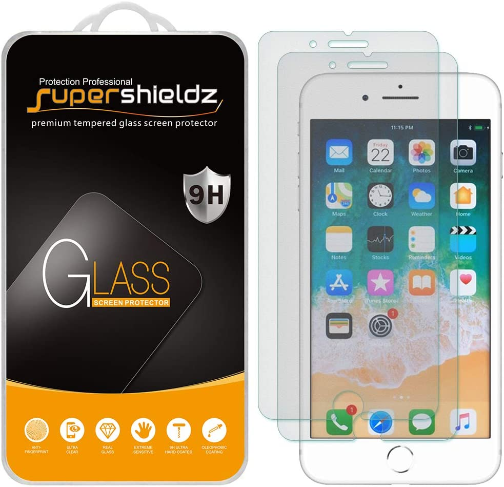 (2 Pack) Supershieldz Anti Glare (Matte) Screen Protector Designed for Apple iPhone 8 Plus and iPhone 7 Plus (5.5 inch) [Tempered Glass] Anti Scratch, Bubble Free