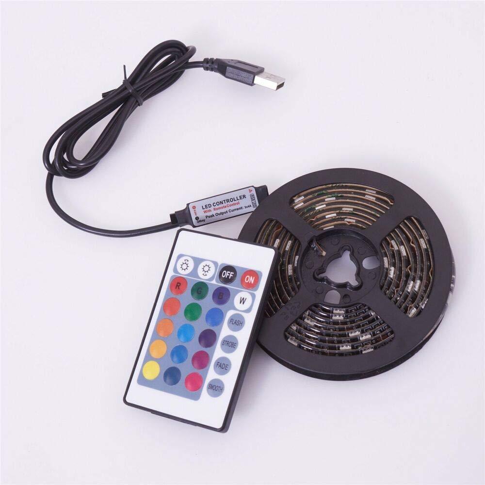 JINHUGU 0.5 1 2 3 4   5M USB-LED-Streifenlicht RGB 5050 TV-Hintergrundbeleuchtung Farbwechsel + Fernbedienung New (Größe   USB Cable+24 Key Control)