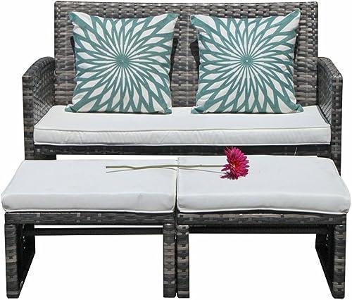 Sunnydaze 3-Piece Flower Designed Bistro Table Set with 2 Chairs, Outdoor Cast Aluminum, White