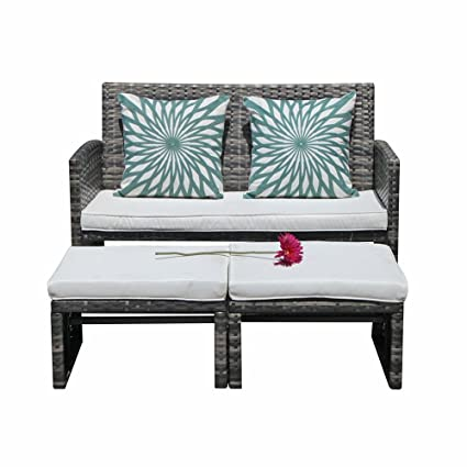 Marvelous Orange Casual 3 Pieces Outdoor Wicker Loveseat Sofa Furniture Set With Ottoman Cushioned Seat Lounge Chair Couch For Patio Backyard Poolside Alphanode Cool Chair Designs And Ideas Alphanodeonline
