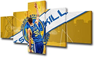 5 Piece NBA Canvas Wall Art Golden State Warriors Pictures for Living Room American Basketball Paintings Stephen Curry Home Decor Ball Court Artwork Framed Ready to Hang Poster and Prints -50''Wx24''H