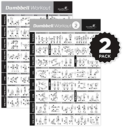(VOL 1+2 DUMBBELL EXERCISE POSTER 2-PACK LAMINATED - Workout Strength Training Chart - Build Muscle Tone, Tighten - Home Gym Weight Lifting - Body Building Guide w/ Free Weights & Resistance - 20