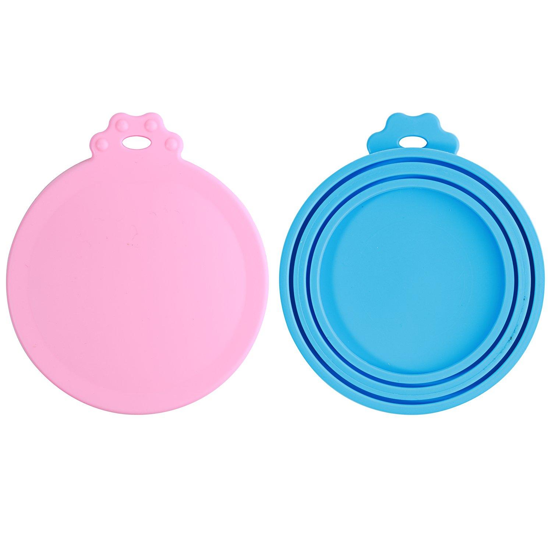 Lot de 2 Universels Couvercles Silicone de Conserve Pour Chien Chat Alimentaire - sans BPA et soutenir lave-vaisselle - Couverture Peut Utilisé avec Trois Tailles de Nourriture en Boite (Bleu+Rose) HOYMN