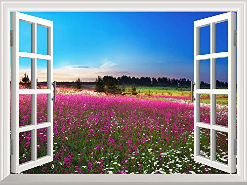 Removable Wall Sticker Wall Mural Sunrise over a Blossoming Field Creative Window View Wall Decor