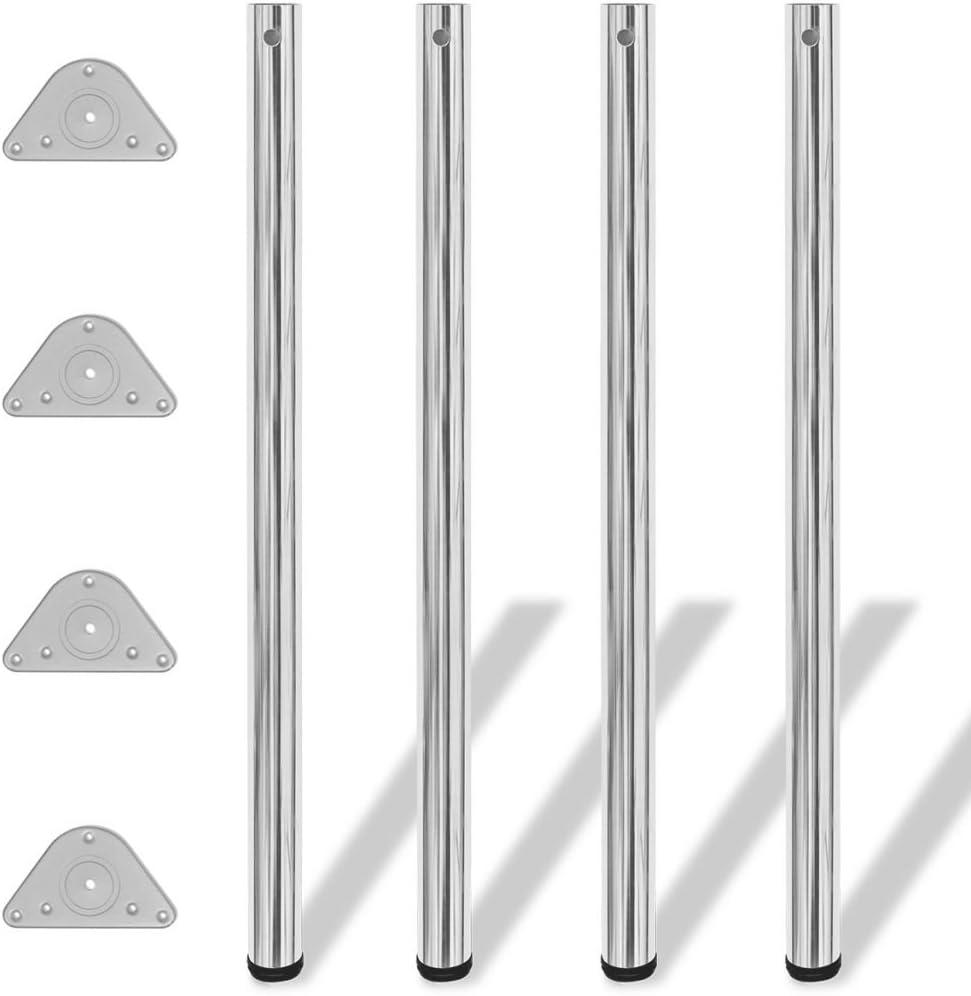 vidaXL 4x Patas para Mesa Regulables en Altura 1100 mm Tubo de Hierro Cromado