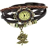 Fashion Womens Retro Leather Bracelet Rose Flower Quartz Wrist Watch