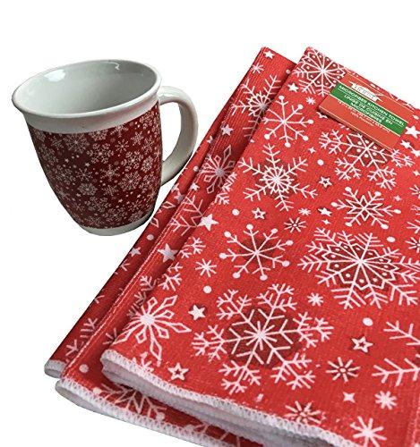 Snowflake Mug and Kitchen Towel Gift Set (Christmas Mug Snowflake)