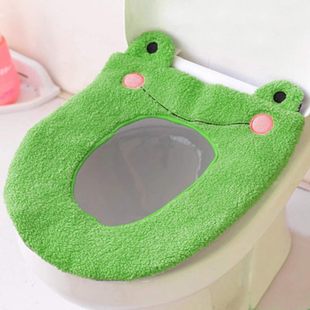 Denzar Toilet Seat Cover,Plush Bathroom Toilet Seat Closestool Washable Soft Warmer Mat Cover Pad Cushion-Reusable,Washable,Durable (Green)