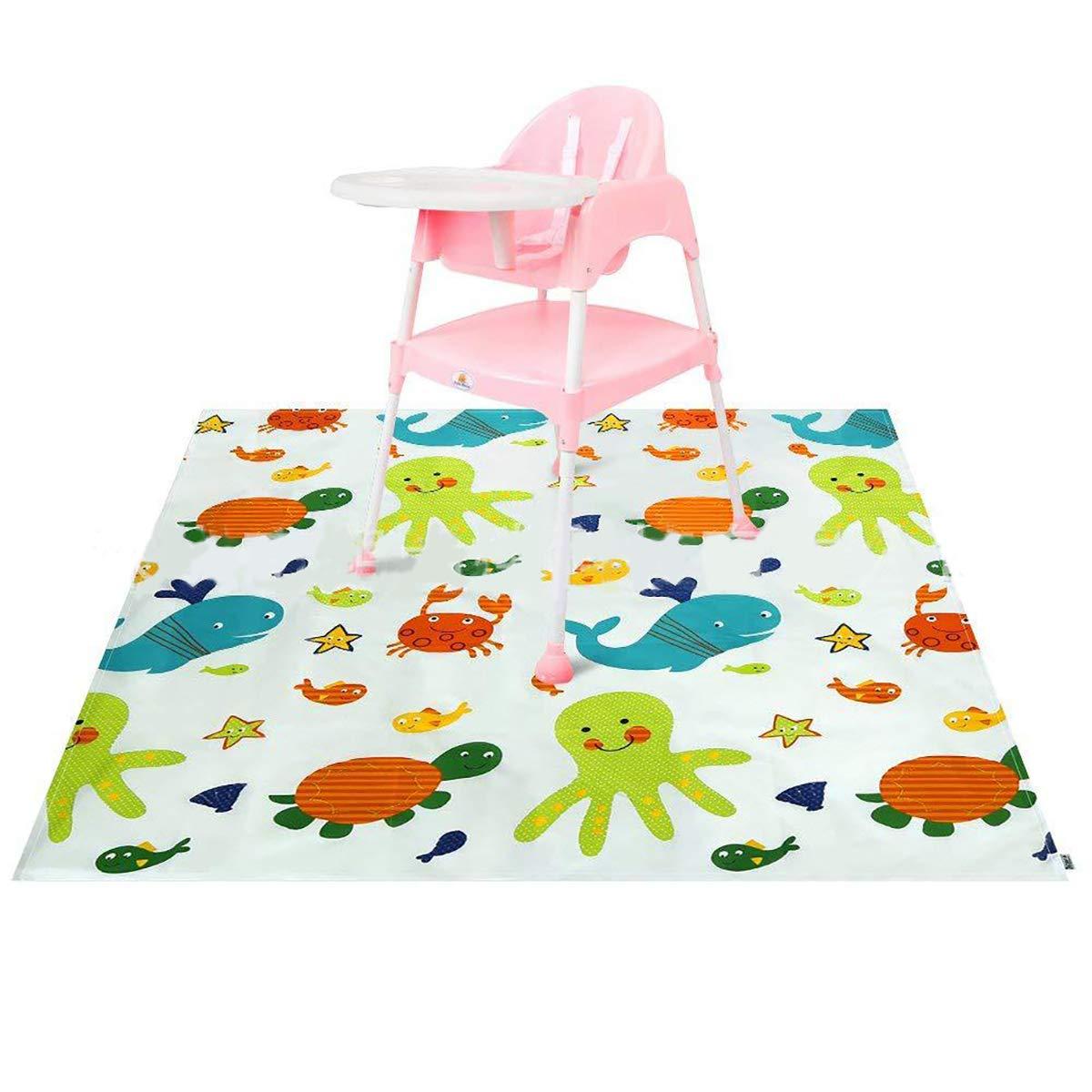 Funhoo Spritzschutzmatte Baby Hochstuhl Kinder Splash Mat Rutschfeste Bodenschutz Mahlzeit Unterlage Wasserdicht Sicher Fu/ßmatte Ozeanwelt