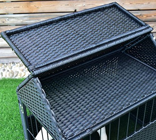 K&A Company House Pet Durable Rattan Dog Cage Kennel Storage Roof Shelter Rest Inclined Yard New Crate Outdoor Animal Backyard by K&A Company (Image #3)