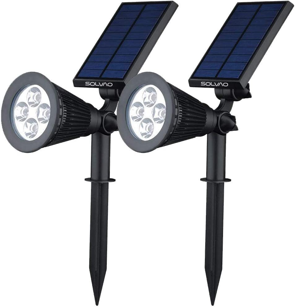 SOLVAO Solar Spot Lights (Upgraded) - Ultra Bright Outdoor LED Spotlights for Landscape, Yard, Flag Pole & Pathway - Waterproof, Sun Powered Uplighting Lamps w/Stake & Wall/Fence Mounting (2 Pack)