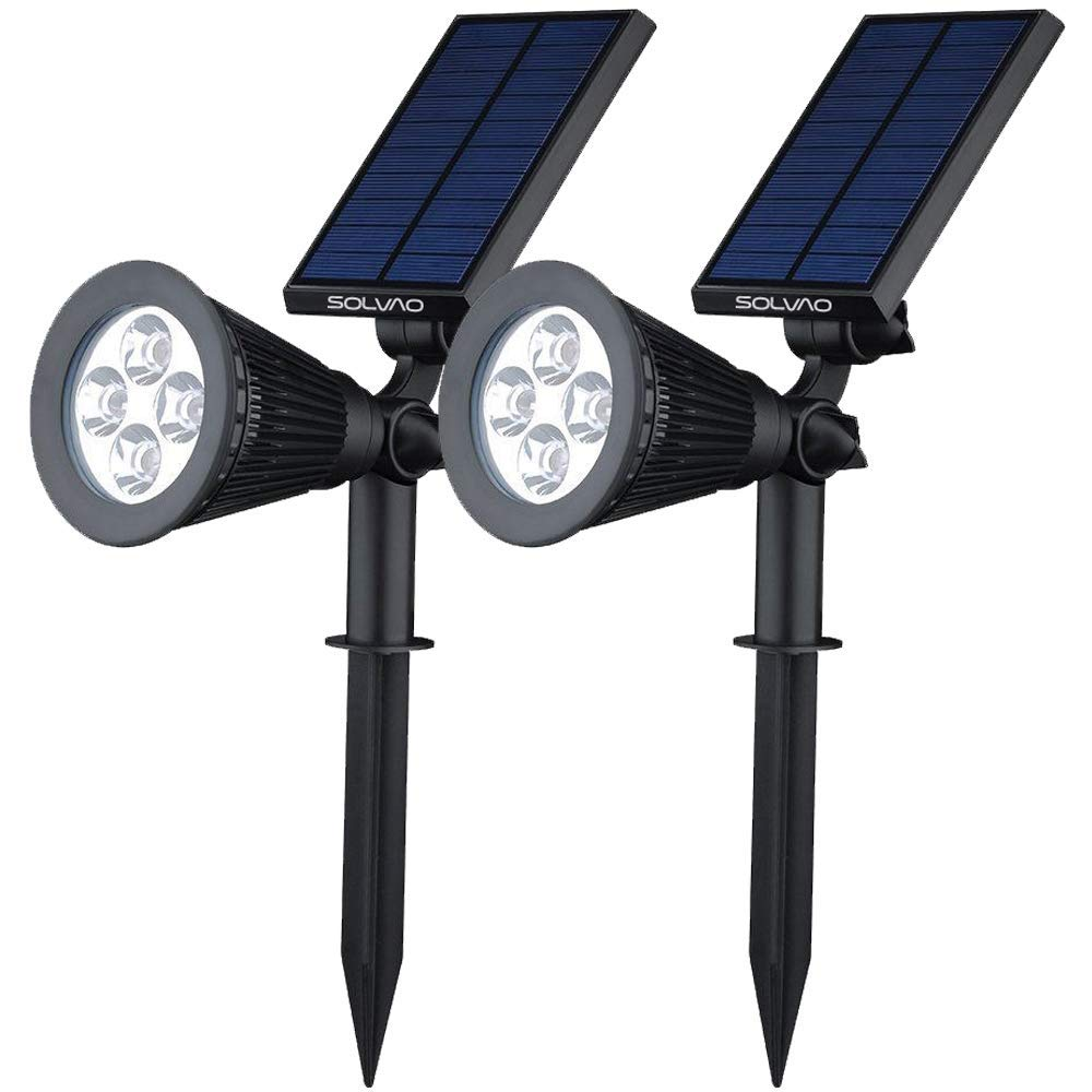 SOLVAO Solar Spotlights (Upgraded) - Ultra Bright Outdoor LED Spot Light w/Wall Mount - Best Sun Powered Uplight for House, Flag Pole, Landscaping, Palm Trees, Rock & Garden (2 Pack) by SOLVAO