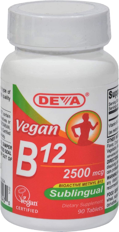 Deva Vegan Vitamins Sublingual B12 - 2500 mcg - Gluten Free - 90 Vegan Tablets (Pack of 2)