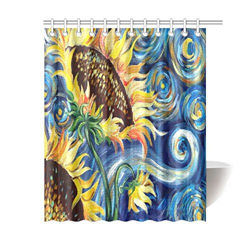 Vincent Van Gogh Painting Sunflower Waterproof Bathroom decor Fabric Shower Curtain Polyester Fabric 60 x 72 ()