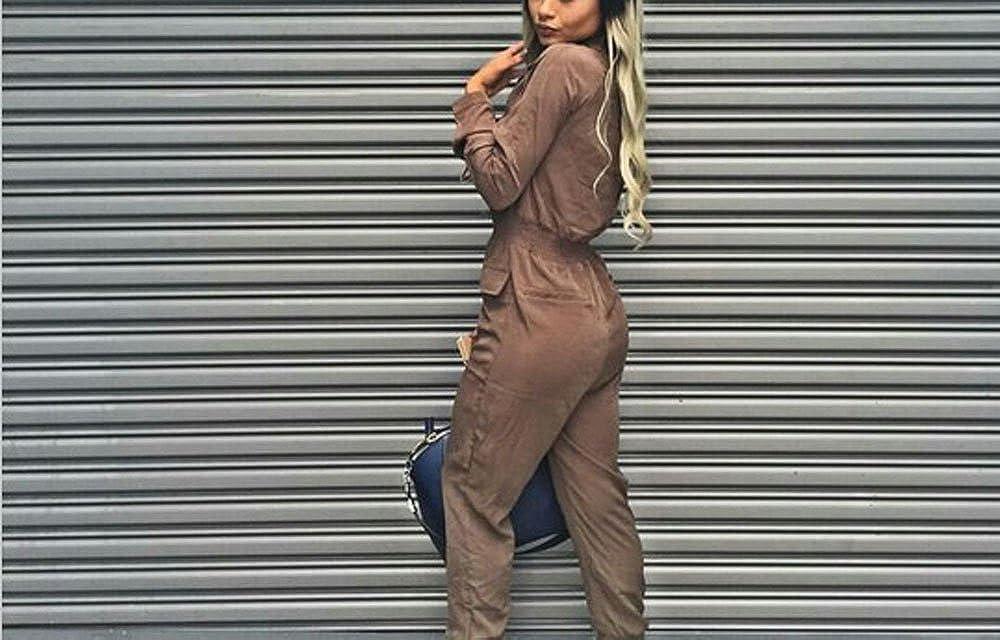 00eb3e3779b Womens Stylish Long Sleeve Zipper Turn Down Collar Capri Pant Jumpsuit  Overalls KF741