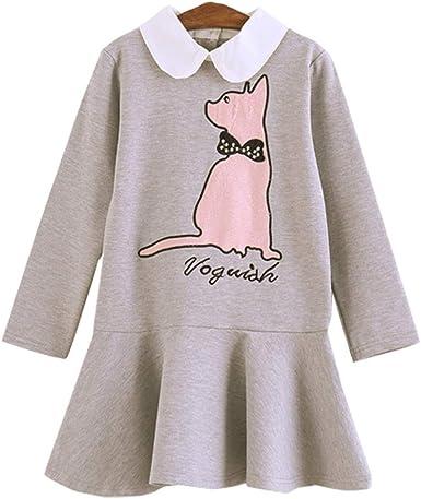 SXSHUN-Vestido de Algodón con Dibujo de Gato para Niñas Vestido de Manga Larga con Peplum Estilo Dulce: Amazon.es: Ropa y accesorios