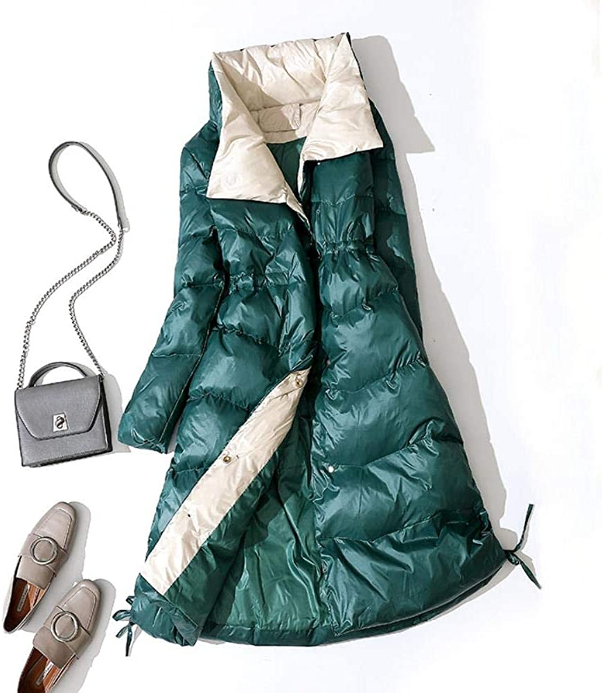 BOBD-DW Winter Jacket Women Women Long Down Coat Winter White Duck Down Parkas Stand Collar Outwear Female Slim Warm Jacket Green