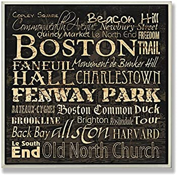 Stupell Home Décor Boston Landmarks Square Wall Plaque, 12 x 0.5 x 12, Proudly Made in USA
