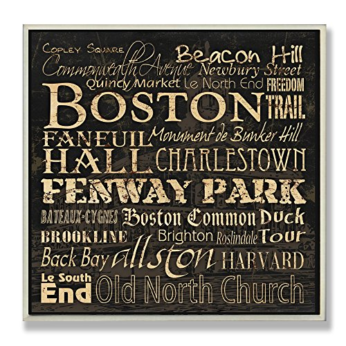 Boston Wall Usa (Stupell Home Décor Boston Landmarks Square Wall Plaque, 12 x 0.5 x 12, Proudly Made in USA)