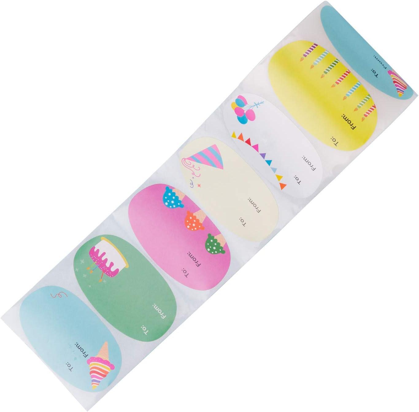 Festa RUSPEPA Adesivi Regalo per Neonato 6 Diversi Modelli per Compleanno Baby Shower 6,4 X 3,8 CM 300 Etichette Totali Adesivi per Regali di Design Unici E Originali