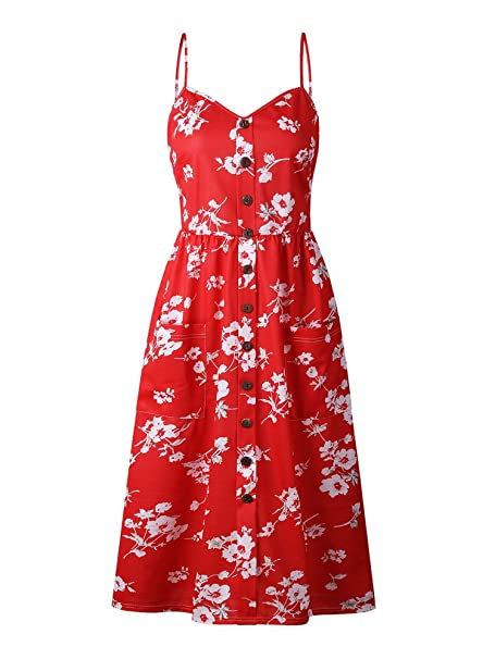 0db0c4e0909 Amazon.com  OCHENAT Women s Floral Spaghetti Strap Button Front Swing Midi  Dress with Pockets Color 13 S Red  Clothing