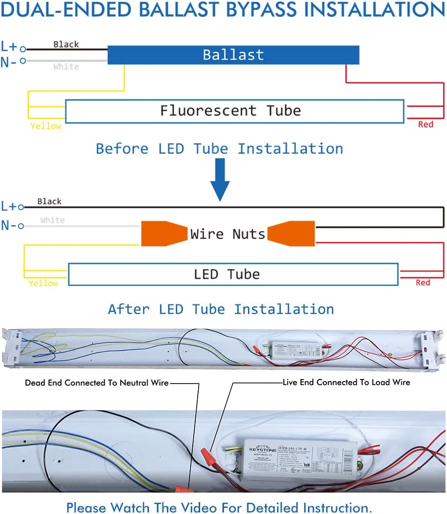 LUMINOSUM T8 T12 LED Tube Light 4ft 20W 40W Equivalent G13 Base Clear Cover Natural White 4000k ETL Listed 25-Pack Dual-Ended Powered