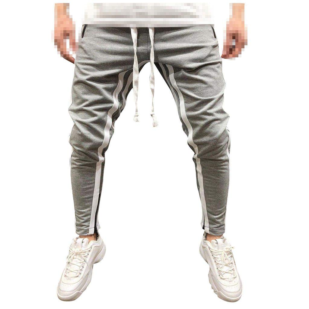 Sunyastor Mens Athletic Workout Sweatpants Casual Trousers Outdoor Working Patchwork Pants Loose Jogger Drawstring Pants Gray