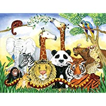 10.5-Feet wide by 8-Feet high.Prepasted robust wallpaper mural from a photo of an original paintng for children: Amazing Planet. Animals. Our murals are easy to install remove and reuse (hang again)