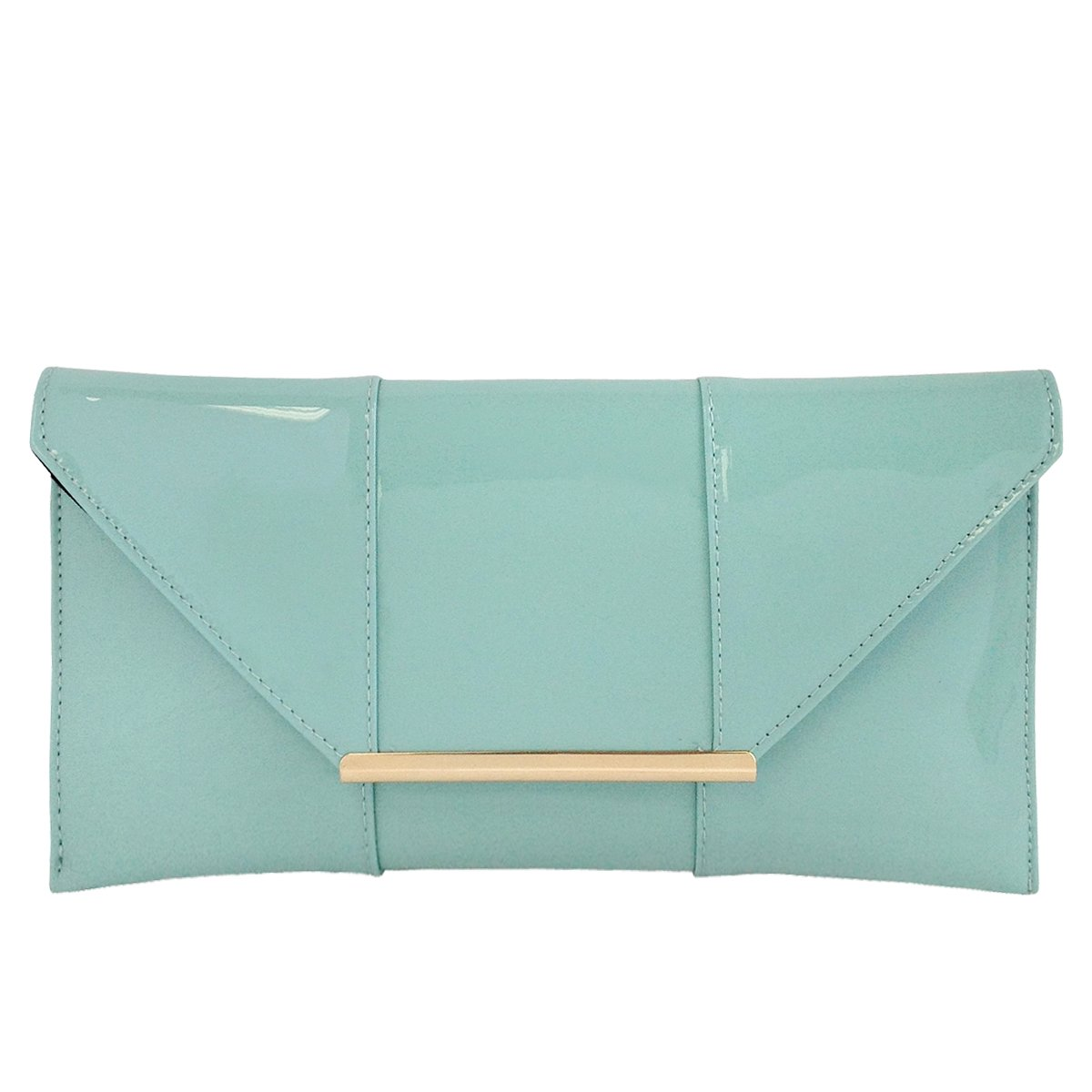 Faux Patent Leather Envelope Candy Clutch Black