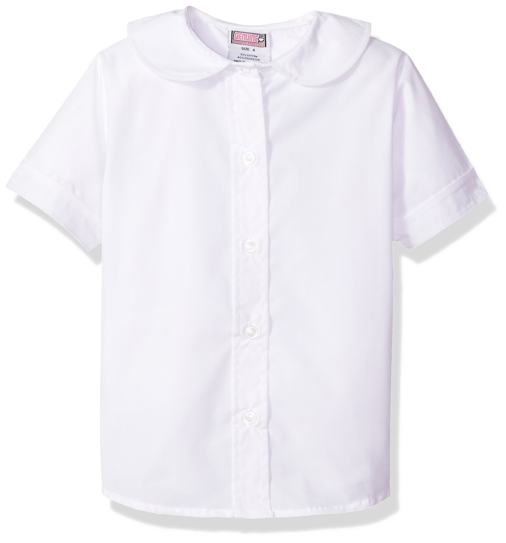 Genuine Big Girls' Blouse (More Styles Available), Short Sleeve White-EJEA, 14