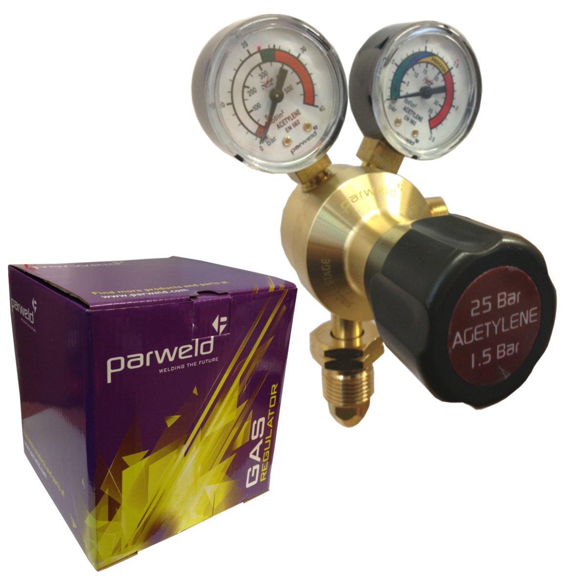 Parweld Acetylene single stage regulator twin gauge - Gas cutting welding regulator