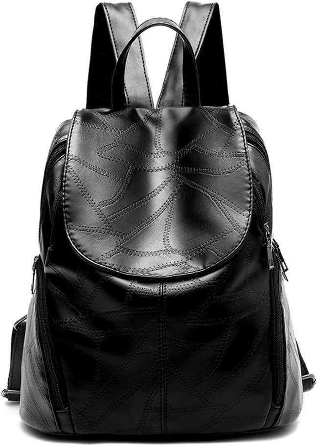 LJL Female new wave Korean fashion wild bag lady backpack leisure travel pu female school bag Color : Black