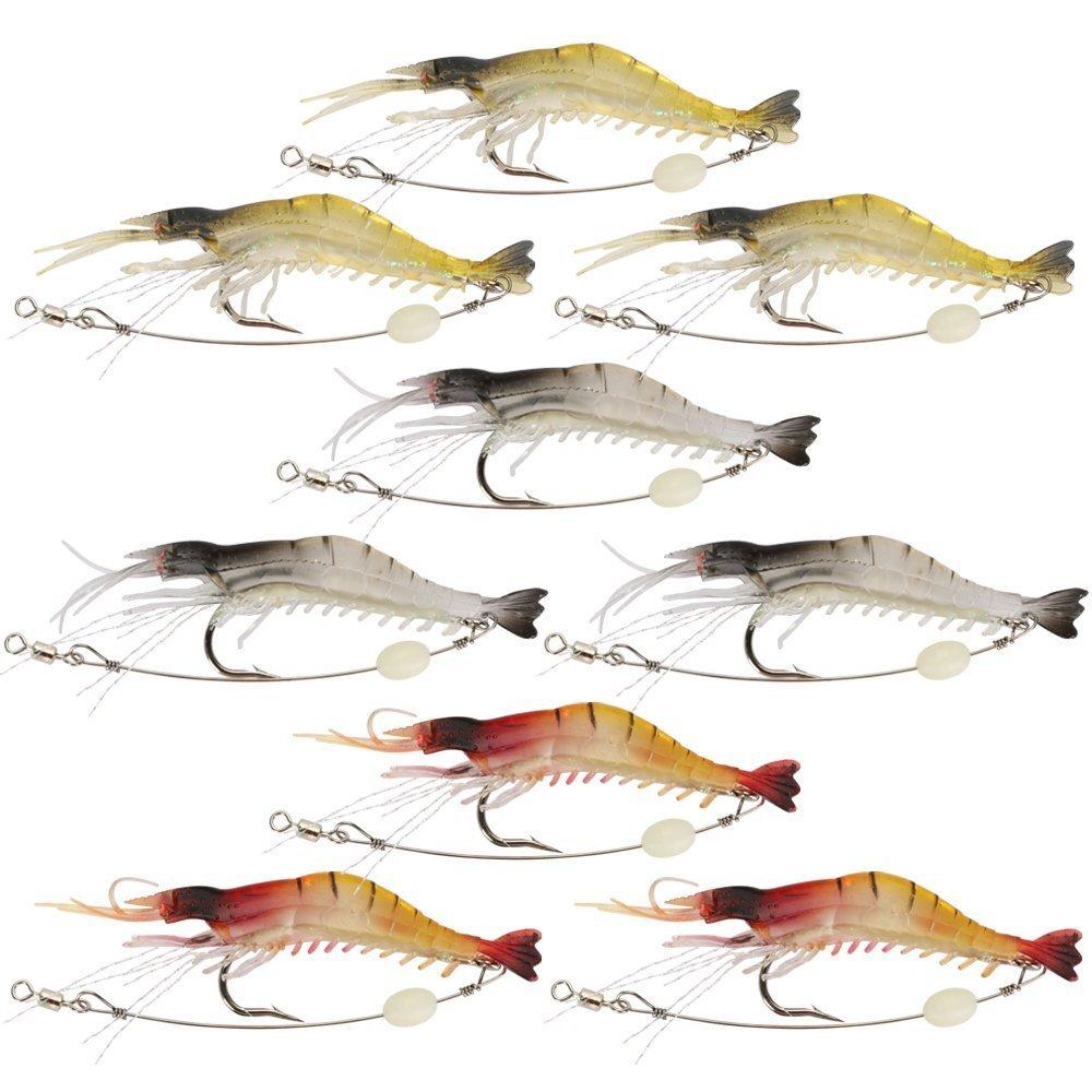 Goture Soft Lures Shrimp Bait Set, Freshwater/Saltwater, Trout Bass Salmon, 9 Piece