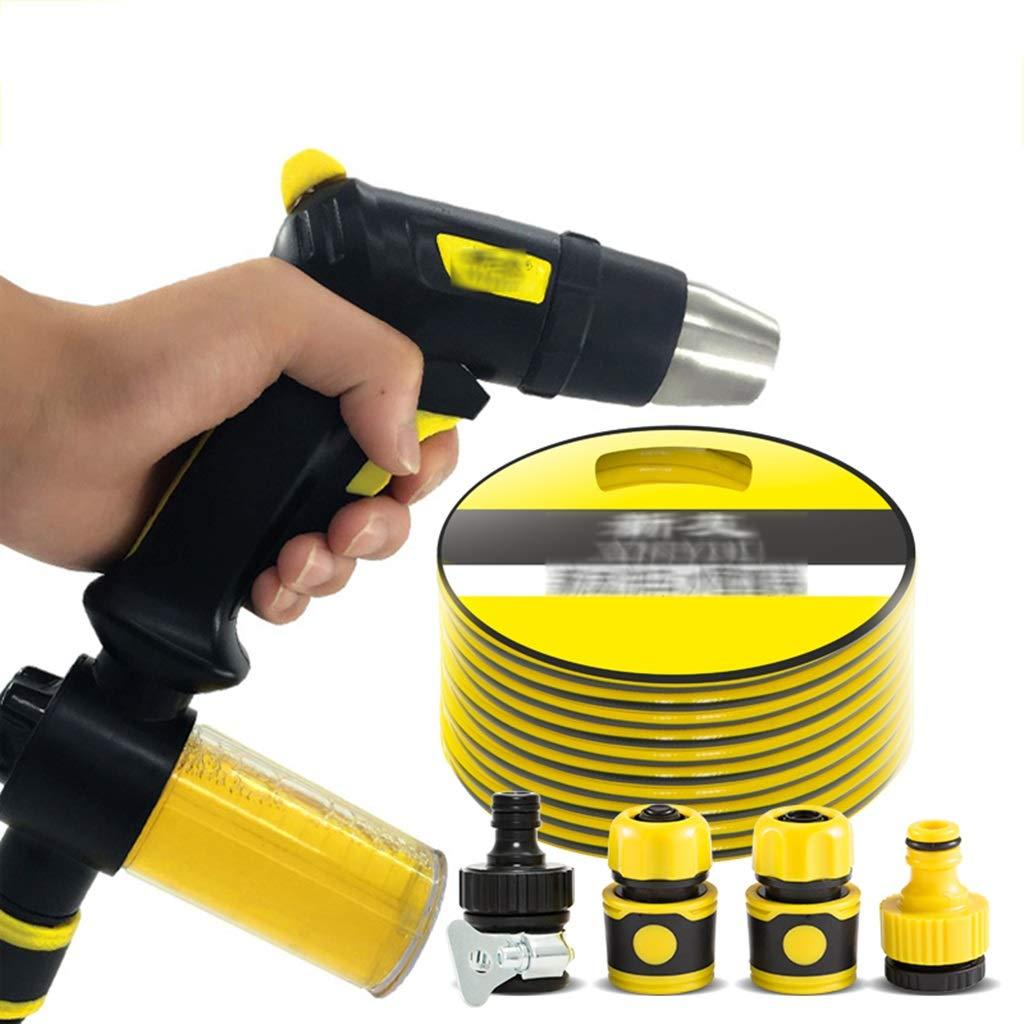 High Pressure Water Gun Car Cleaning Gun Lawn Atomizer Telescopic Hose 10-30m Foam Box Foam Spray Gun Car Care (Color : Yellow, Size : 22m)