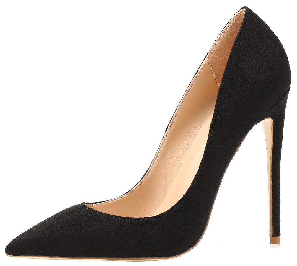 AOOAR AP09N - Zapatos de Vestir de Sintético para Mujer 45 EU|Schwarz/Wildleder