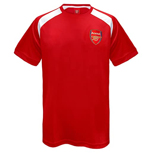 94d0fb09d Arsenal FC Official Football Gift Mens Poly Training Kit T-Shirt Red Small