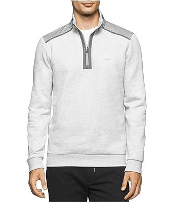 7bfba6fcc3d8 Calvin Klein Mens Quarter Zip Contrast Sweatshirt Grey 2XL at Amazon Men s  Clothing store
