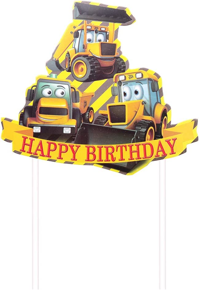 Excavator Party Cake Decoration Supplies Happy birthday cake topper Construction Truck Birthday Cake Topper for Kids