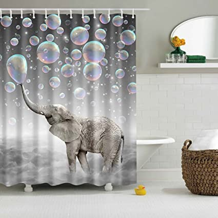 Messagee Cute Bubble Elephant Shower Curtain Bath Art