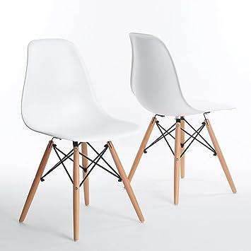 chaise design - dsw blanche inspirée eiffel par eames: amazon.fr ... - Chaise De Cuisine Blanche