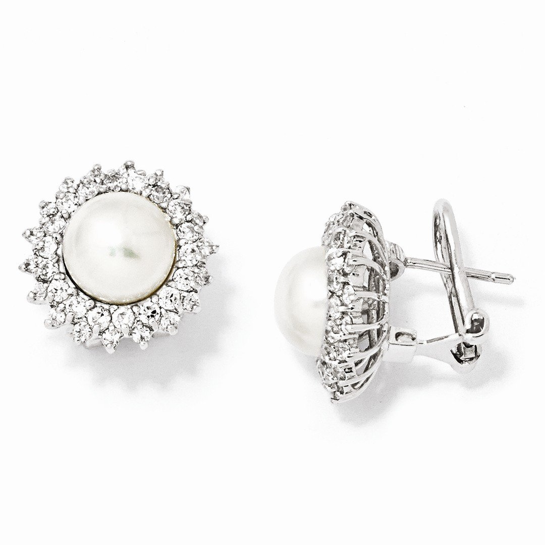 ICE CARATS 925 Sterling Silver Cubic Zirconia Cz Freshwater Cultured Pearl Omega Back Ball Button Stud Earrings Fine Jewelry Ideal Mothers Day Gifts For Mom Women Gift Set From Heart