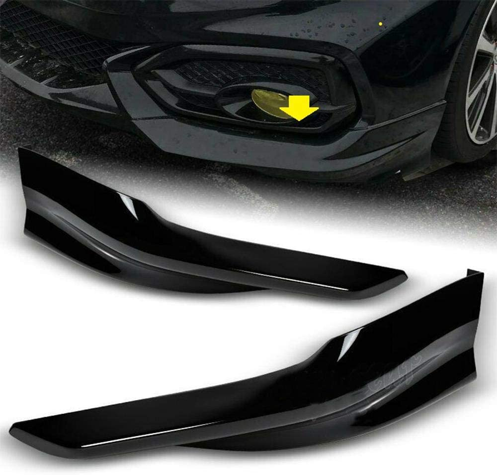 S SIZVER HFP-Style Black Front Bumper Spoiler Lip 2pc Designed for 2014-2015 Honda Civic 2DR//Coupe