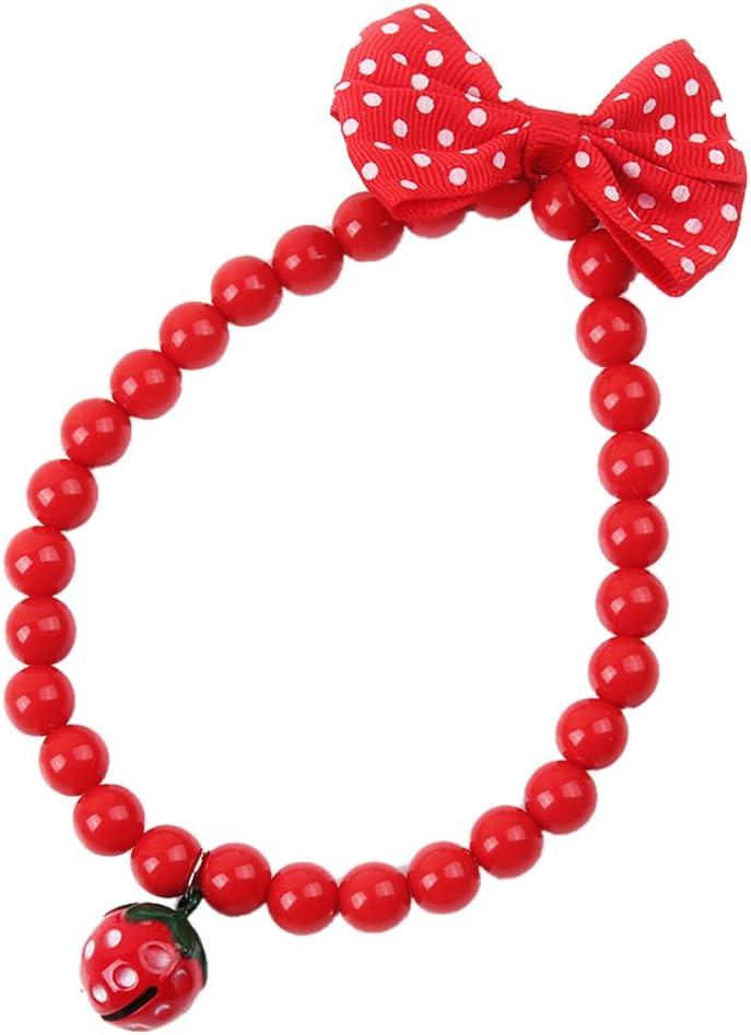 Everpert 1 collar de perlas para mascota, perro, gato o gato, diseño de fresa, con lazo, color rojo