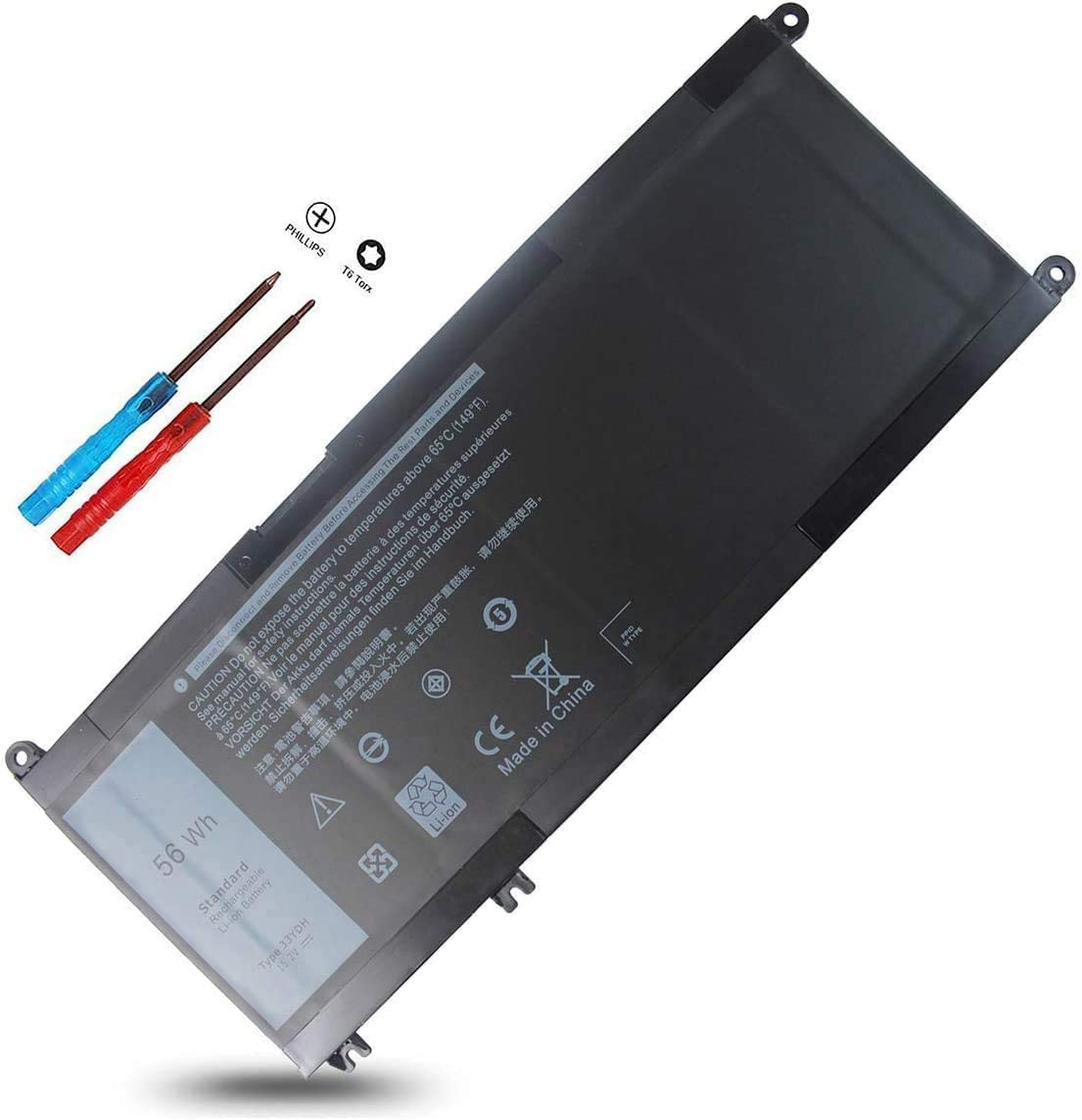 56Wh 33YDH Laptop Battery for Dell Inspiron 17 7000 7778 7779 7786 7773 15 7577,G3 3579 3779 G5 5587 G7 7588,Latitude 13 3380 14 3490 15 3590 3580 PVHT1 P30E 99NF2 7573 2-in-1 81PF3 081PF3 P30E001
