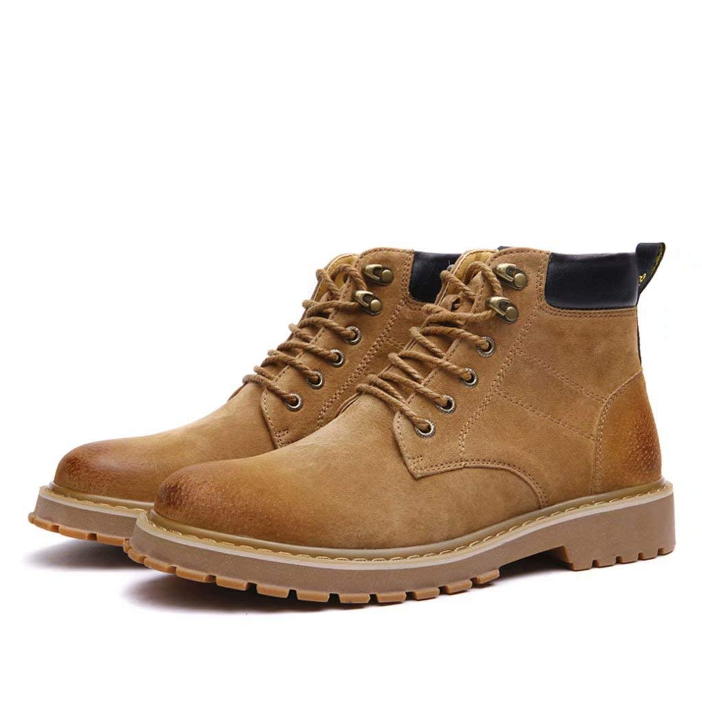 Deep Sand color Autumn And Winter Tooling Boots British Martin Boots Men Vintage Bullock shoes Leather Boots Casual Increase Tpr Sole Tooling Boots