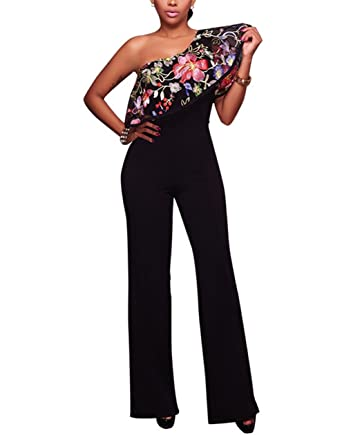 807a7f5c00be Engood Women Casual Sexy Strapless High Waist Long Pant Wide Leg Ruffle  Party Lace Jumpsuit Romper