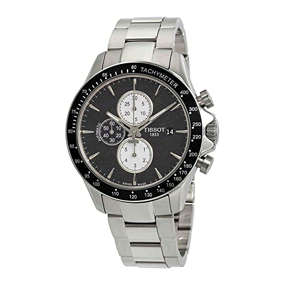 Reloj Tissot automático V8 para hombre, con cronógrafo y esfera negra, ref. T1064271105100.: Amazon.es: Relojes